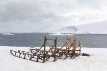 Antártica, pinguins deitar ao meu lado os trenós na Baía gelada — Fotografia de Stock
