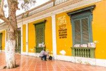 Peru, Provincia de Lima, Cercado de Lima, Künstler Malerei im outdoor-Bereich in der Nähe von Gebäude — Stockfoto