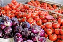 Chiuda in su dei pomodori in cassette in via del mercato, Uzbekistan — Foto stock