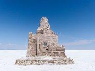 Болівія, департамент Potos, Даніель Кампос провінції, Салар де Уюні, ралі Дакар статуя в сіль пустелі — стокове фото