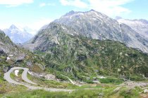 Switzerland, Valais, Obergoms VS, The Furka Pass scenic mountain landscape aerial view — Stock Photo