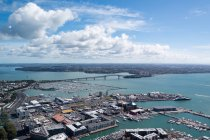New Zealand, Auckland, view from the Sky Tower to Auckland city port — Stock Photo