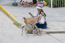 Peru, Arequipa, Yanque, woman sitting with alpaca in Colca Valley — Stock Photo