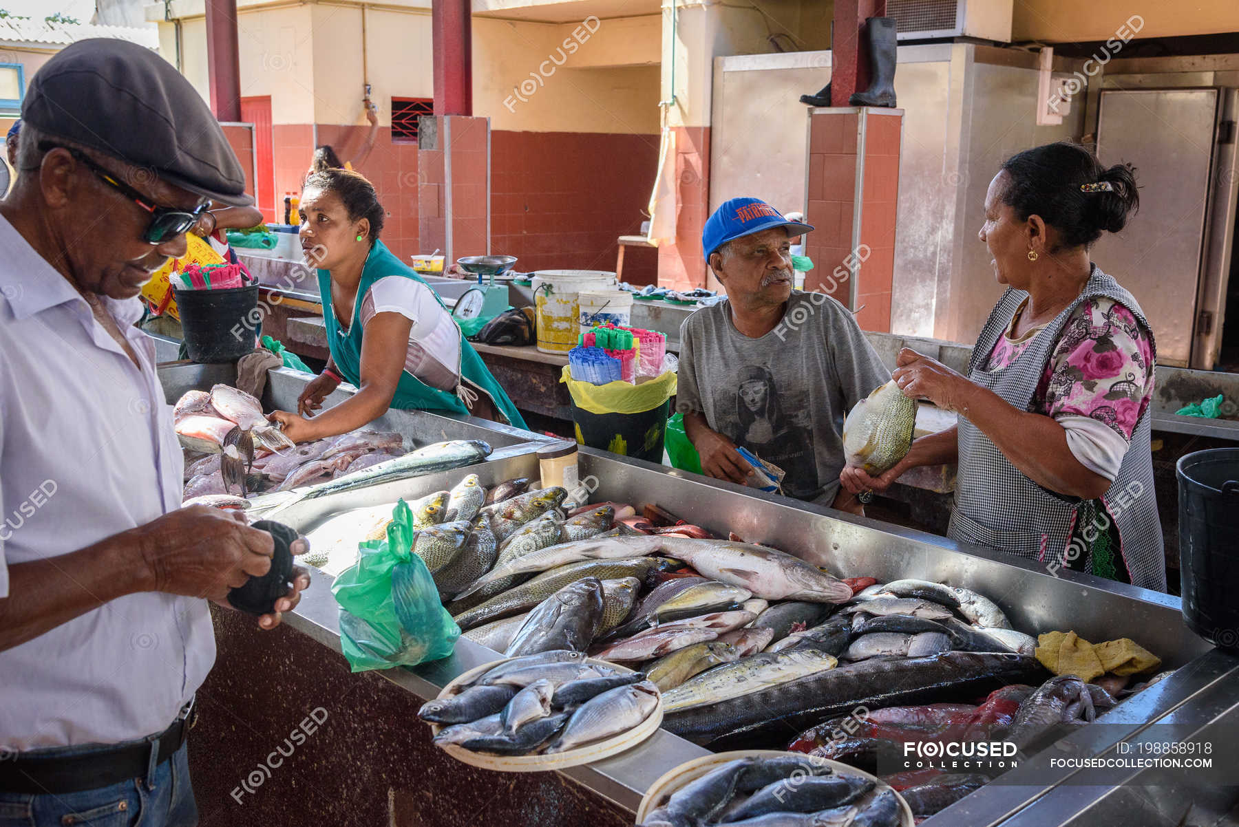 Sellers and buyers street fish market of Mindelo, Sao Vicente, Cape