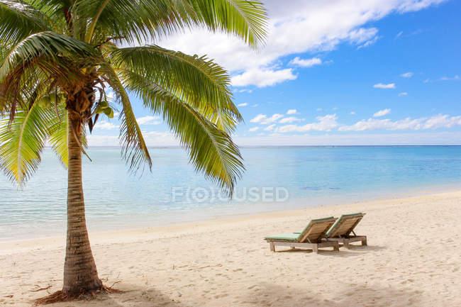 Острова Кука, Аитутаки, живописный вид на пустой пляж с двумя лежаками на песке — стоковое фото