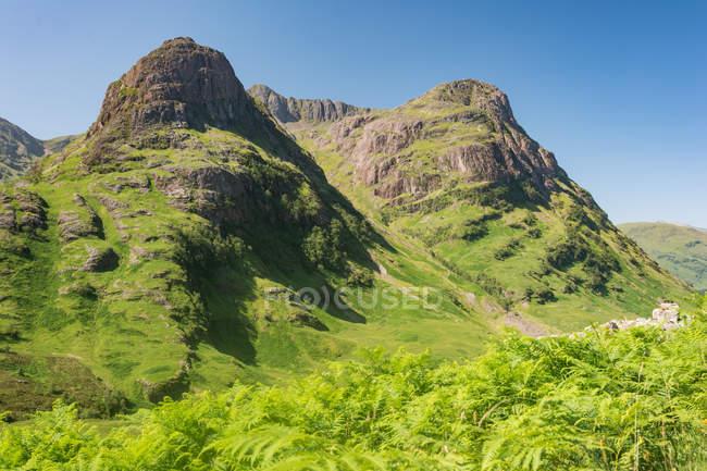 United Kingdom, Scotland, Highland, Ballachulish, Glencoe Highland, Glencoe, scenic mountains landscape overgrown with forest — Stock Photo
