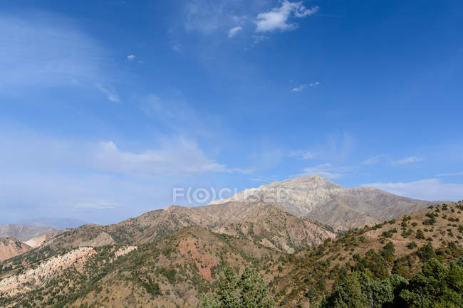 Uzbekistan, Tashkent Province, Bustonlik tumani, hiking in the Chimgan Mountains, the Chimgan is a foothills of the Tienshan Mountains, scenic mountains landscape overgrown with forest — Stock Photo