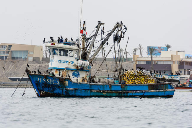 Peru, Ica, Pisco, The Islas Ballestas, fishing boat in harbor — Stock Photo