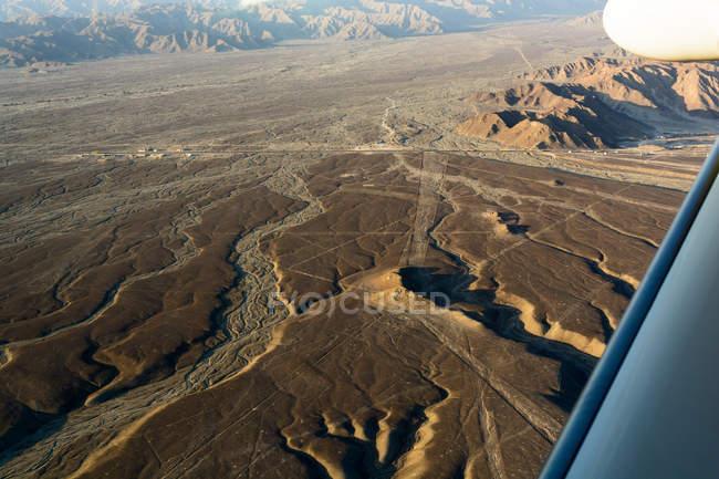 Perù, Ica, Nasca, visite turistiche sulle linee di Nazca al tramonto, paesaggio montano — Foto stock