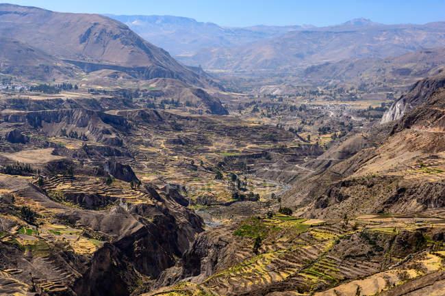 Pérou, Arequipa, Caylloma, vue aérienne de Canyon de Colca — Photo de stock