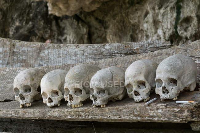 Indonésie, Sulawesi Selatan, Toraja Utara, Torajaland, crâne et os croisés, tombes rupestres, culte de la mort — Photo de stock