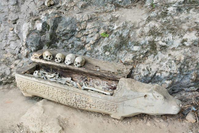 Індонезія, Selatan Сулавесі, Toraja Utara, Torajaland, черепами і кістками, рок-могили, смерть культ — стокове фото