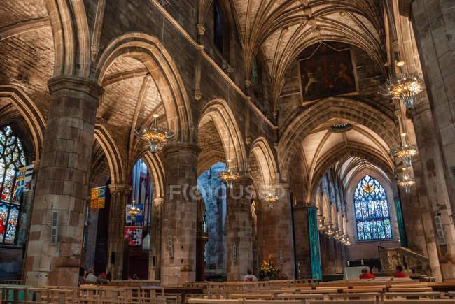 Schottland, Edinburgh, Vereinigtes Königreich, innen Schuss High Kirk von Edingburgh, die ehemalige St. Giles Kathedrale — Stockfoto