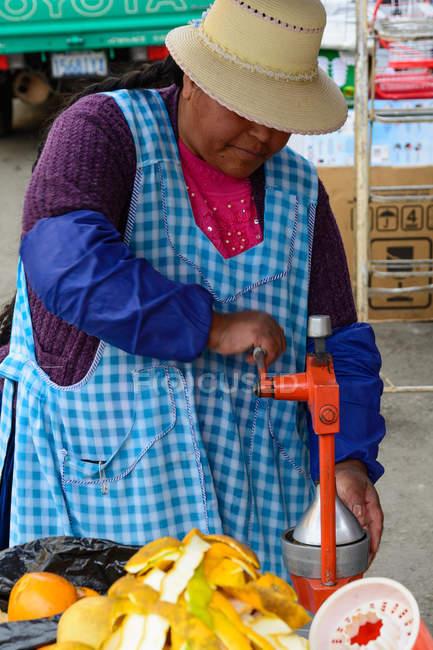 Bolivia, Departamento de La Paz, La Paz, woman at market in La Paz — стоковое фото