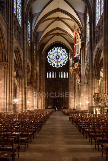 France, Grand Est, Strasbourg, Strasbourg Cathedral interior view — Foto stock
