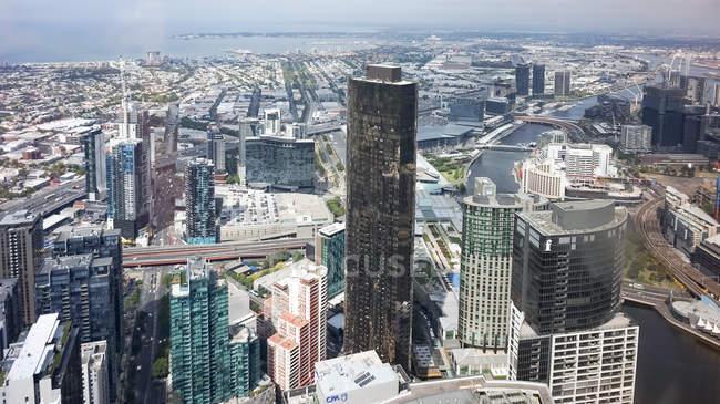 Austrália, Victoria, Southbank, No Eurika Skydeck 88 no meio de Melbourne, vista aérea da cidade — Fotografia de Stock