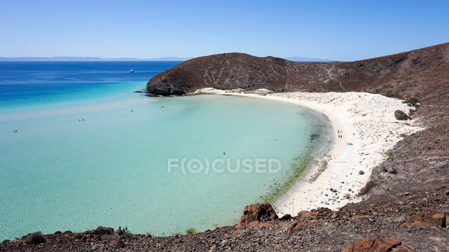 Mexico, Baja California Sur, La Paz, sandy beach of Balandra Beach aerial view — Stock Photo
