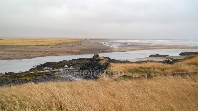 Paisagem com grama seca, água e céu nublado, Islândia, Budir — Fotografia de Stock