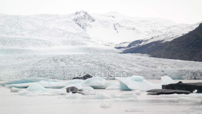 Laguna iceberg di Fjallsarlon con colline innevate, Islanda — Foto stock