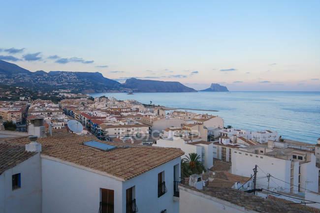 Espanha, Comunidad Valenciana, Altea, pôr do sol no mar em Altea — Fotografia de Stock