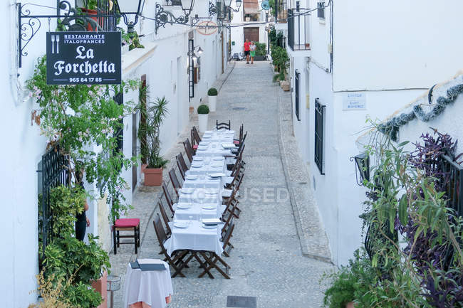Spain, Comunidad Valenciana, Altea, restaurant in old town Alteas — Stock Photo
