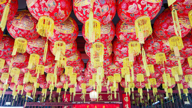 Malaysia, Pulau Pinang, Georgetown, Asian ceiling lanterns in Penang — Stock Photo