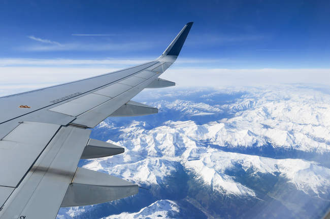 Austria, Tyrol, Grossvolderberg, view from airplane above alps from Munich to Athens — Stock Photo