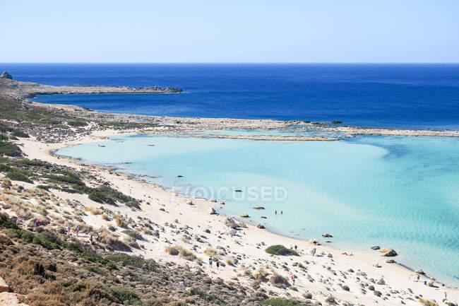 Греція, Крит, Балос пляж на острові Кріт, мальовничі прибережні морський пейзаж — стокове фото