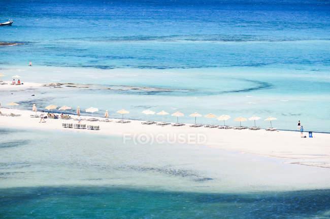 Греція, Крит, синє море на пляжі Балос, пташиного польоту пляж — стокове фото