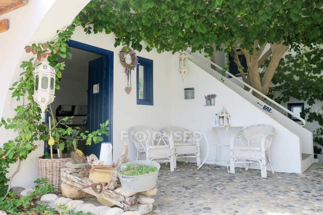 Greece, Crete, Lutro, terrace of house in Lutro — Stock Photo