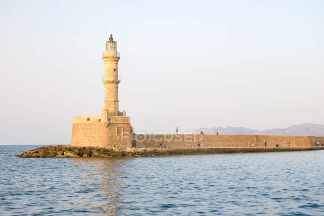 Greece, Crete, Chania, landmark of Chanias, lighthouse in sunset light — Stock Photo