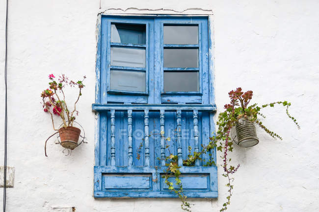 Peru, Qosqo, Cusco, Blue Window Shops in Cusco — Stock Photo