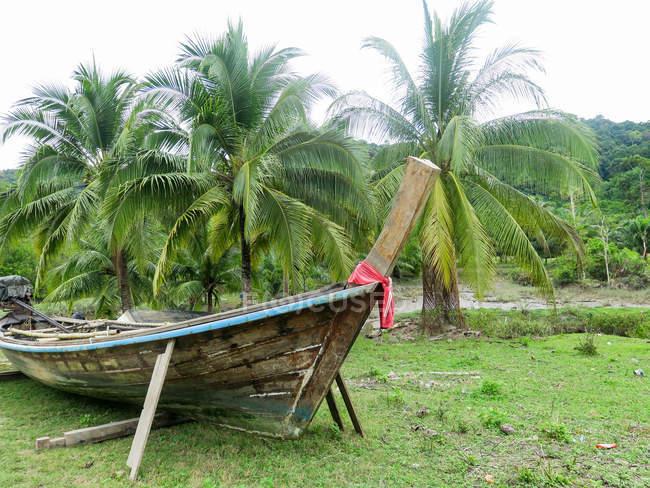 Таїланд, Чанг Wat Пханг Нга, тамбон Khuekkhak, дерев'яних човнах на землі в Talaenok — стокове фото