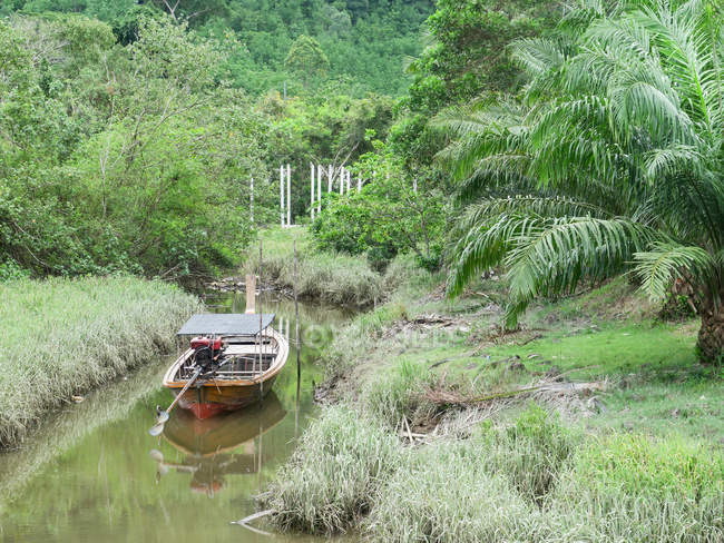 Таїланд, Чанг Wat Пханг Нга, тамбон Khuekkhak, човен в річці в Talaenok — стокове фото