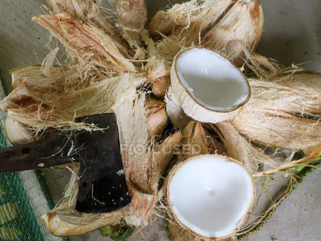 Таїланд, Чанг Wat Пханг Нга, тамбон Khuekkhak, відкриті кокосового на стіл — стокове фото