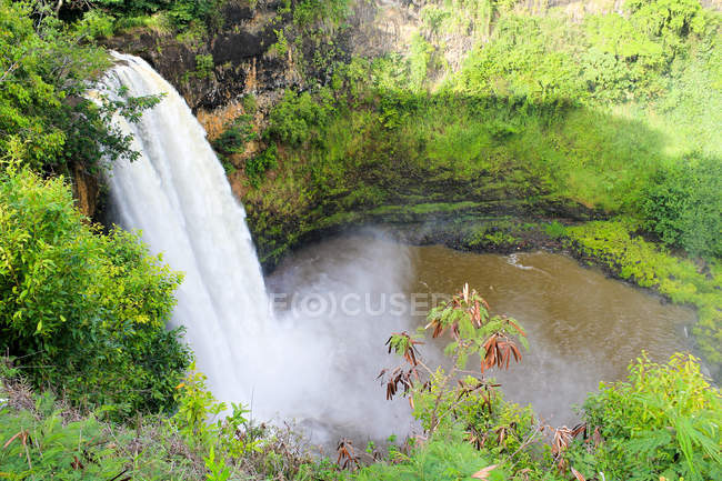 USA, Hawaii, Waimea, Natural scene with aerial view of waterfall in green forest — Stock Photo