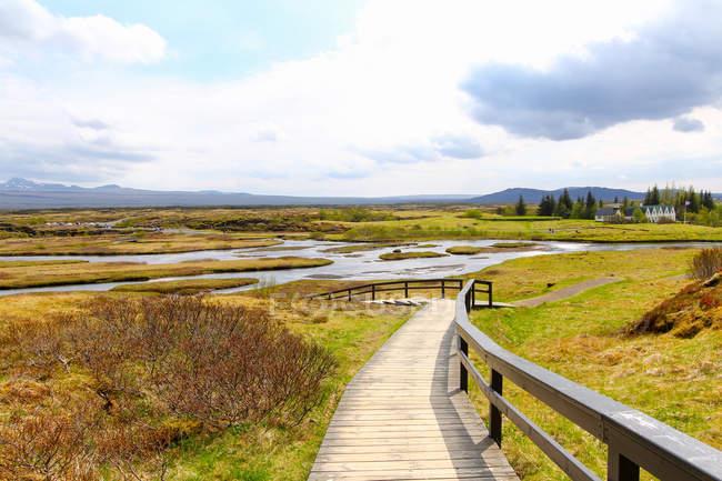 Calçadão sinuoso em paisagem verde com rio, Islândia — Fotografia de Stock