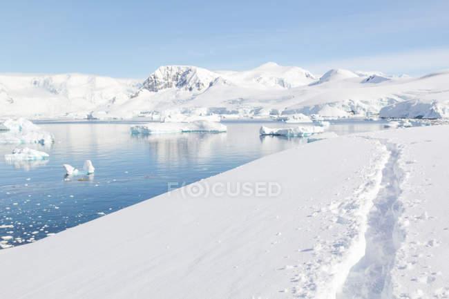 Antarctica, footprints in the snow, scenic frozen landscape in bright sunlight — Stock Photo