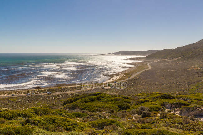 South Africa, Western Cape, Cape Town, aerial view fof ocean coast in sunshine — Stock Photo