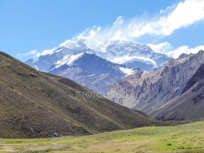 Region de Valparaiso, Chile, Argentinien-Chile-Pass, La Yesera Ansicht des Aconcagua, malerische Berge Landschaft — Stockfoto