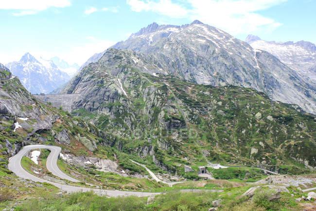 Schweiz, Wallis, Obergoms Vs, The Furka-Pass Aussichtsberg Landschaft Luftbild — Stockfoto