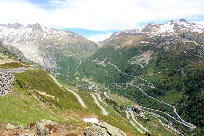 Switzerland, Valais, Obergoms VS, The Furka Pass scenic mountains landscape view — Stock Photo