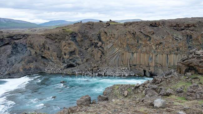 Elevated view of flowing Aldeyjargoss waterfall, Iceland — Stock Photo