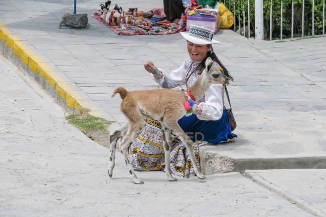 Pérou, Arequipa, Yanque, femme assise avec le fil alpaca dans la vallée du Colca — Photo de stock