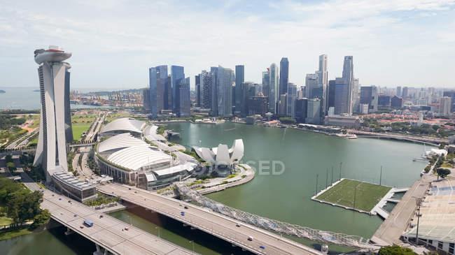 Сінгапур, Сінгапур вид повітряних міський пейзаж з Flyer (чортове колесо) — стокове фото