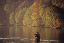 Man fly fishing in autumn, Cherry Point, Vancouver Island, British Columbia, Canada. — Stock Photo