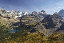 Vue aérienne du lac Ohara automnal montagnes du Parc National Yoho, Colombie-Britannique, Canada. — Photo de stock