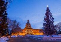 Alberta gesetzgebendes gebäude mit weihnachtsbaum und beleuchtung, edmonton, alberta, canada — Stockfoto