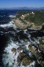 Vista aérea de Cape Beale estación luz, isla de Vancouver, Columbia Británica, Canadá. - foto de stock