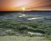 Пташиного польоту річка в сухий Провінційний парк острова стрибок Буффало, Альберта, Канада — стокове фото